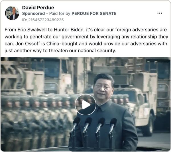 A screenshot of a Facebook ad placed by David Perdue attacking Jon Ossoff by accusing him of being china-bought