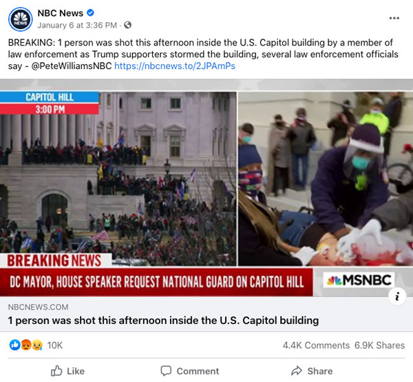 "A Facebook Post by NBC News of their story ""4 dead, Congress evacuated, National Guard activated after pro-Trump rioters storm Capitol"""