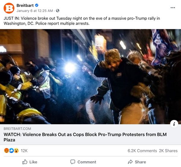 "A Facebook Post by Brietbart of their story ""Violence Breaks Out as Cops Block Pro-Trump Protesers from BLM"""