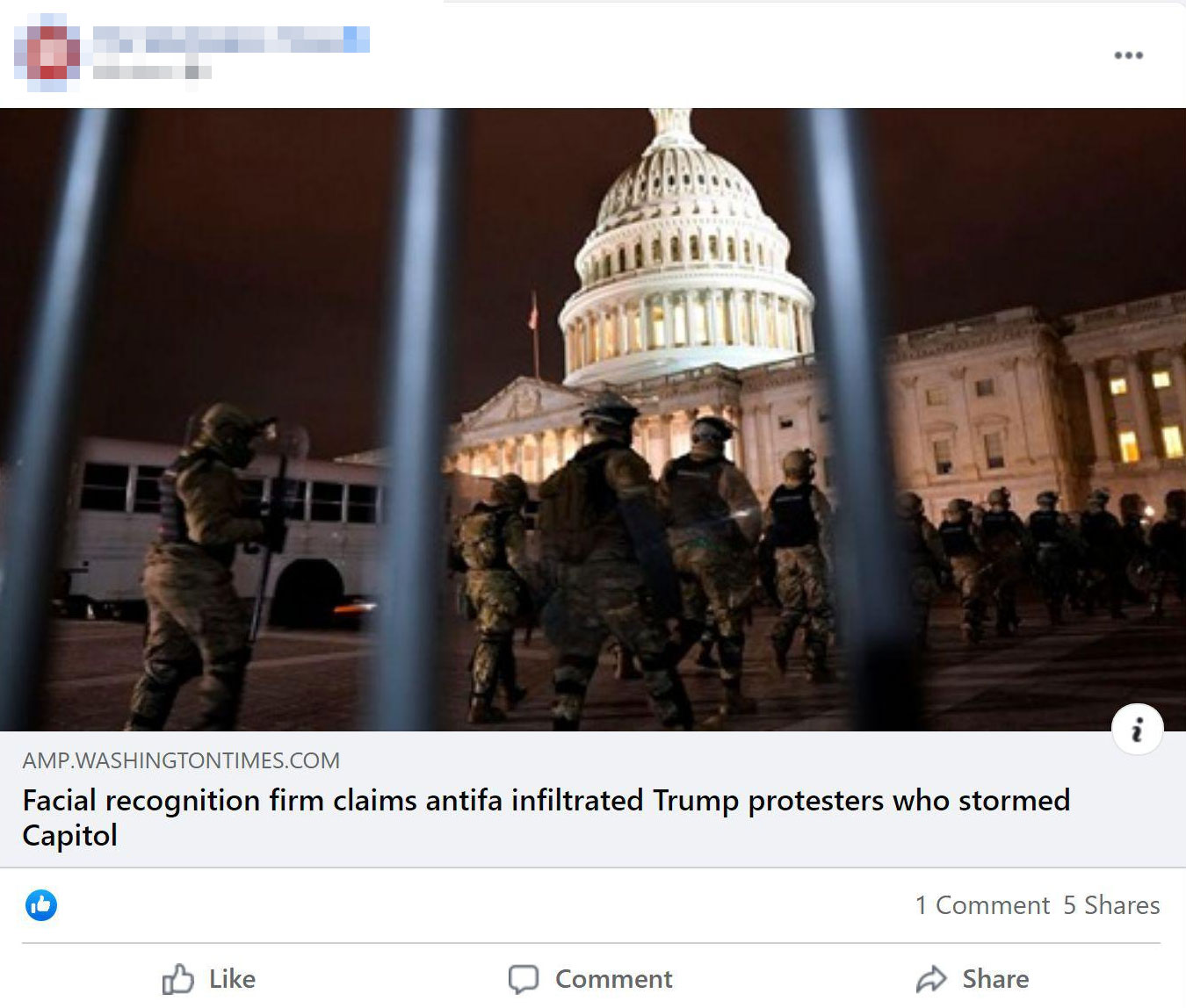 "A Facebook Post by The Washington Times of their story ""Facial recognition firm claims antifa infilrated Trump protesters who stormed Capitol. This post was later updated as it contained misinformation."""