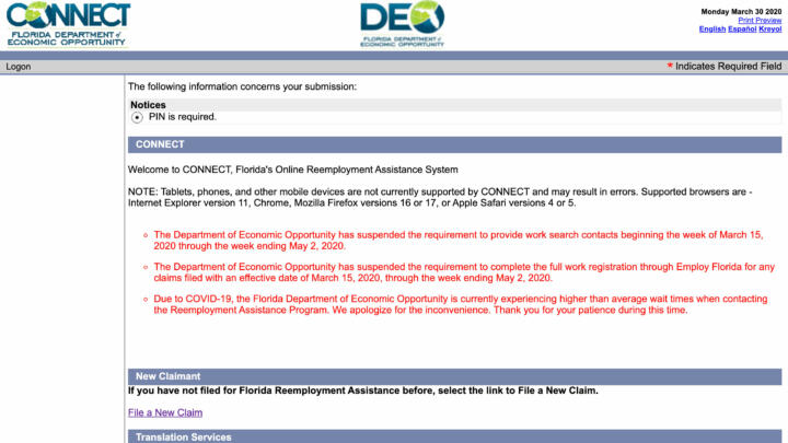 A screenshot of Florida Department of Economic Opportunity's Website