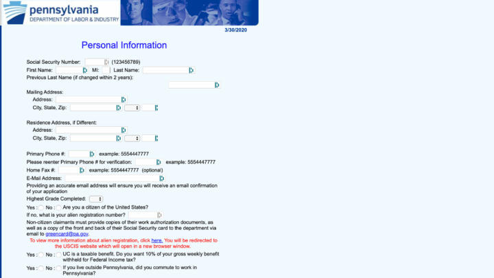 A screenshot of the Pennysylvania Department of Labor & Industry's Unemployment Application Website