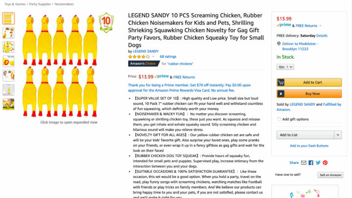 Screenshot of 10 rubber chickens for sale on Amazon that's available on Prime despite the Coronavirus
