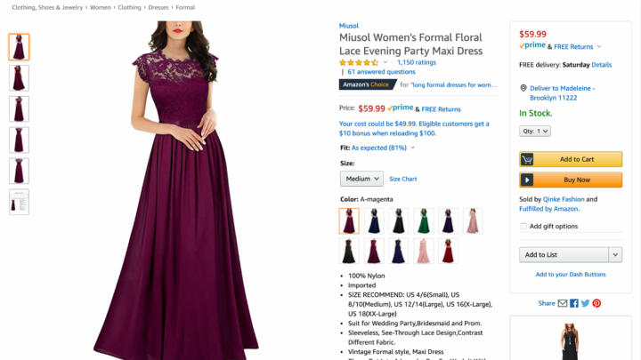 Screenshot of a prom dress for sale on Amazon that's available on Prime despite the Coronavirus