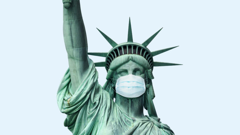 Illustration of Lady Liberty wearing a Coronavirus Mask