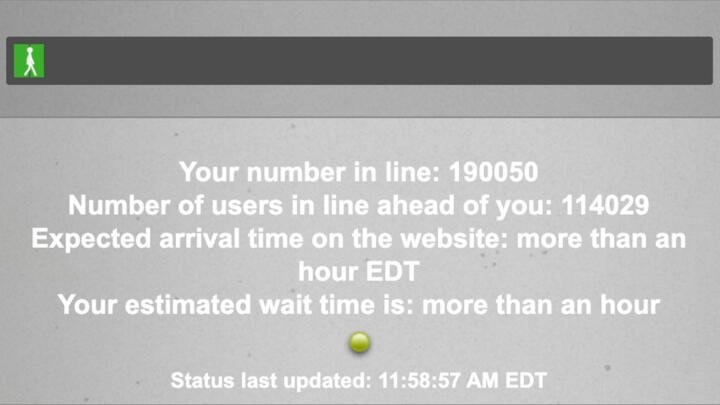 "A screenshot of Maryland's new BEACON system with the message ""Your number in line: 190050"""
