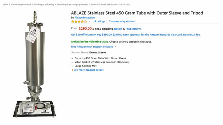 A screenshot of an Ablaze Stainless Steel 450 Gram Tube listing on Amazon