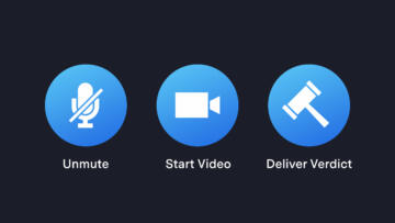 An illustration of three buttons for a video conferencing app with the labels: Unmute, Start Video, and Deliver Verdict