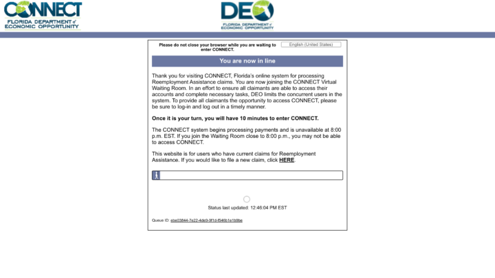 A screenshot of Florida's CONNECT unemployment site and a virtual waiting list before accessing functionality