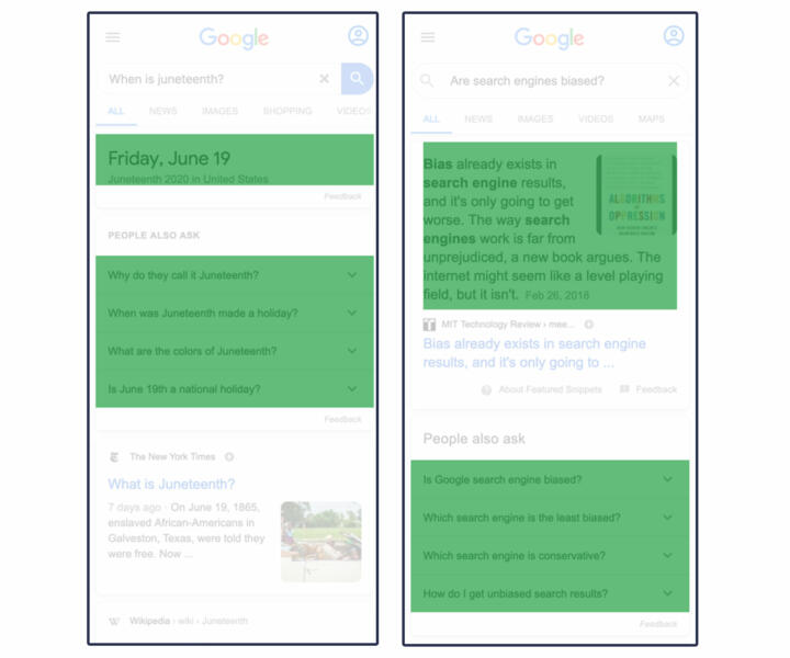 Examples of modules with Google Answer elements