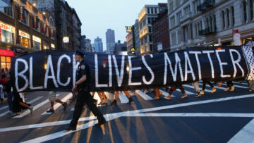 A photo of a Black Lives Matter banner