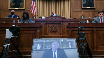 A photo of Jeff Bezos on a screen during the House Judicial Committee's hearing on Antitrust Law