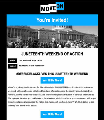 Screenshot of a Move On newsletter