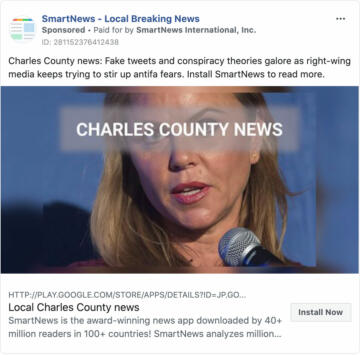 A Facebook ad for SmartNews
