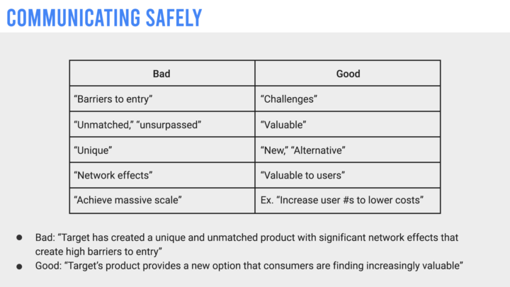 "A recreated internal Google slide that details how employee's should communicate safely by using terms like ""Challenges"" instead of ""Barriers to entry"""