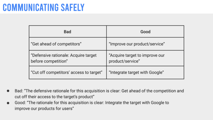"A recreated internal Google slide that details how employee's should communicate safely by using terms like ""Acquire target to improve our service"" instead of ""Acquire target before competition"""