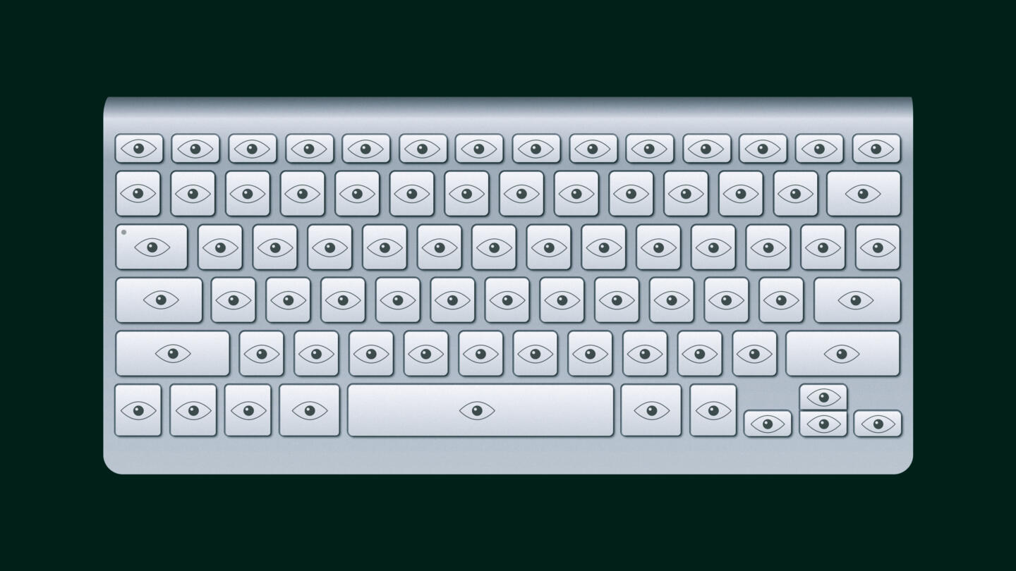 Illustration of a keyboard but every key has an eye symbol on it