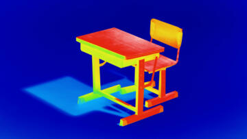 An illustration of a thermal image of a school desk