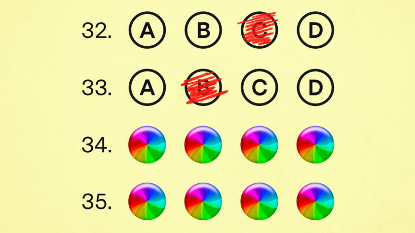 An illustration of a multiple choice exam with half the questions having crashed with a mac beachball icon