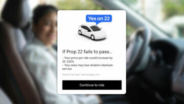 "Photo Comp of a screenshot pop-up from the Uber app that reads ""Yes on 22"" over a blurry image of a rideshare driver."