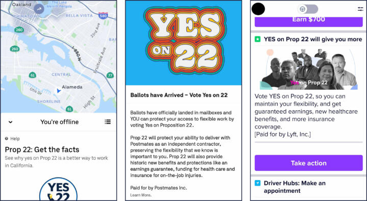 Screenshots of Pro-Prop 22 copy and imagery found in the driver apps for Uber, Postmates and Lyft