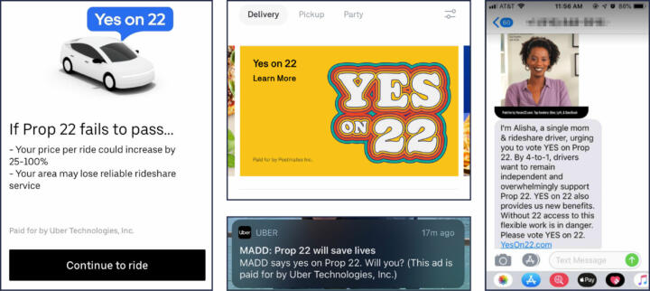 Screenshots of Pro-Prop 22 advertisements aimed at customers of Uber and Postmates