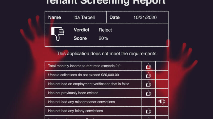 Illustration of zombie hands behind a rejected tenant screening report