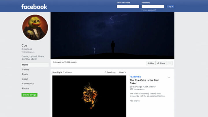 A screenshot of the Cue Facebook Page