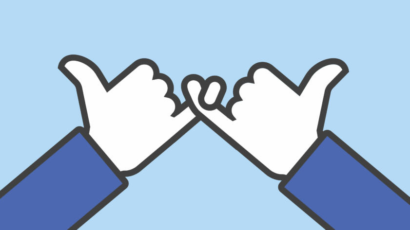 An illustration of a pinky promise in the style of Facebook