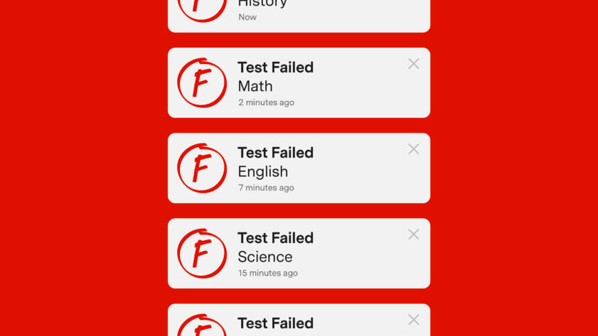 An illustration of a series of notifications about failed online tests