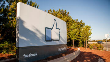 Photo of the Facebook HQ sign in Menlo Park, California