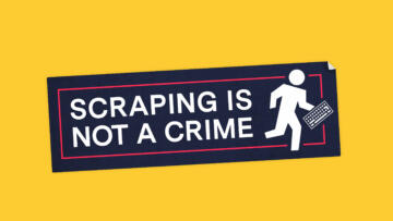 "An illustration of a sticker that reads ""Scraping Is Not A Crime"""