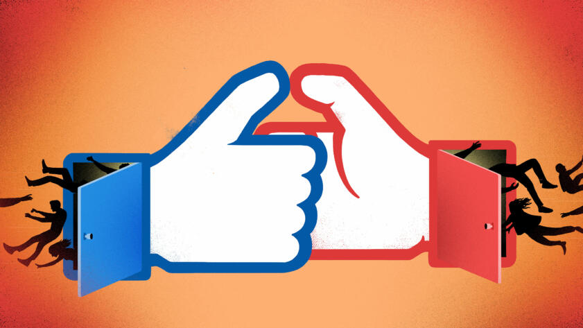 An illustration of two Facebook style thumbs in a thumb war with people being sucked in to doors either side