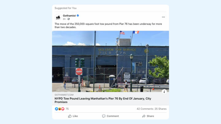 """Screenshot of a recommended post by a page that is not """"liked"""" yet was served to a user's Facebook news feed."""