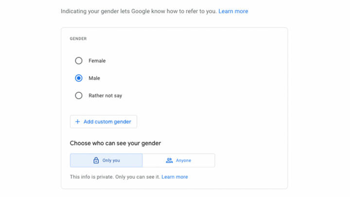 Image of Google page that allows users to select gender preference and who can see it