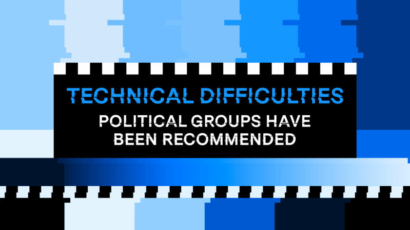 "A Facebook colored technical difficulties screen that reads ""Technical difficulties: political groups have been recommended'"
