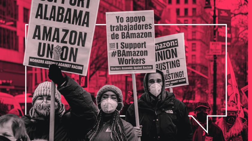 Picture of picketers supporting Alabama Amazon workers