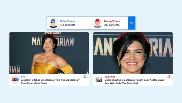 A screenshot of SplitScreen showing two news stories