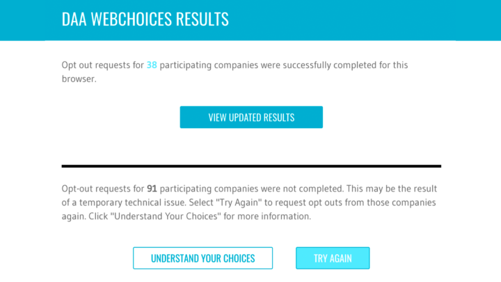 "A screenshot of DAA Webchoices results. It reads ""Opt out requests for 38 participating companies were successfully completed for this browser"" and ""Opt-out requests for 91 participating companies were not completed"""