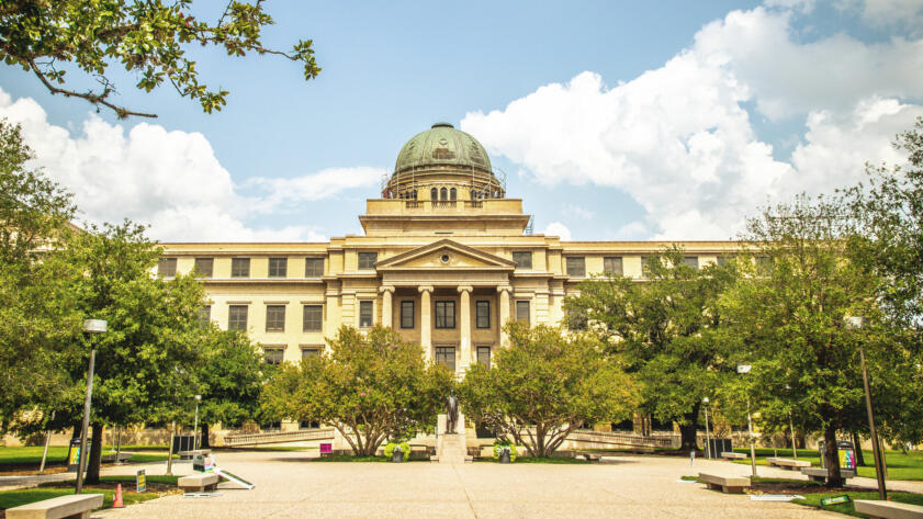 A photo of Texas A&M's Academic Plaza