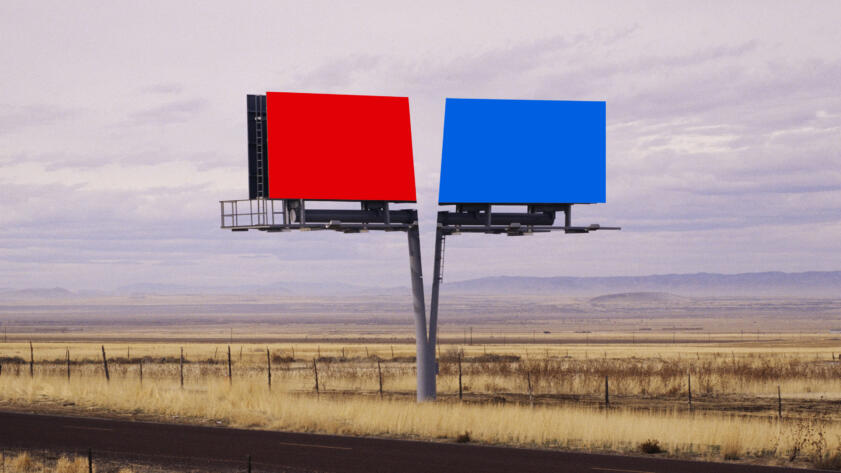 An illustration of a billboard being split into two with one half red and the other half blue