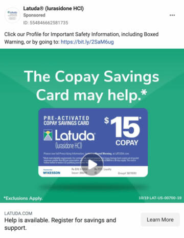 """A screenshot of a Facebook ad for """"Latuda"""". The ad reads """"The copay savings card may help"""""""