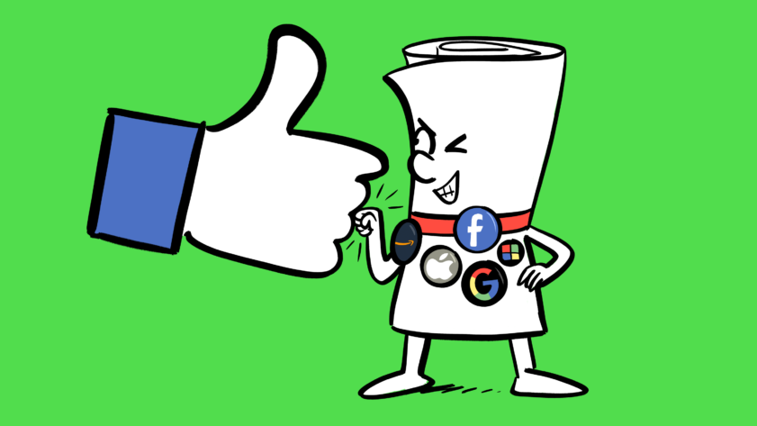 An illustration of a cartoon bill covered in big tech company badges, fist bumping the Facebook hand