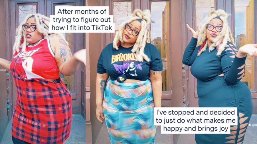 """Screengrabs from a TikTok by Tinuade Oyelowo that reads """"After months of trying to figure out how I fit into TikTok. I've stopped and decided to just do what makes me happy and brings joy"""""""