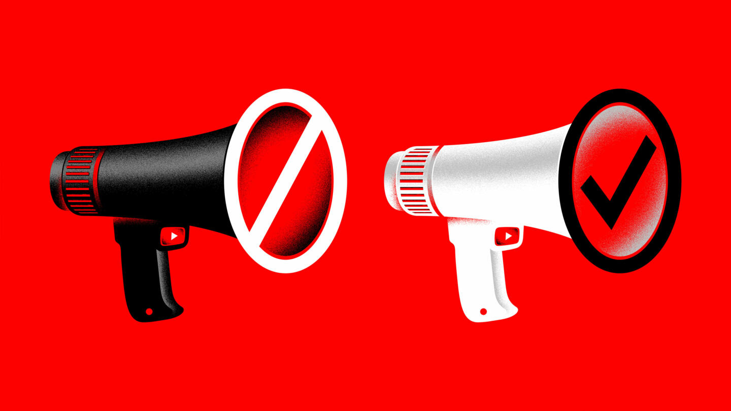 An illustration of two megaphones with YouTube icons as buttons. One megaphone is black and is being blocked. The other, white megaphone, is being allowed.