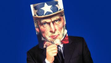 An illustration of a man in a business suit holding up an image of Uncle Sam in front of his face