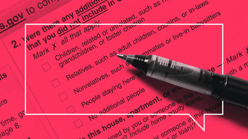 Image of pen on a census form