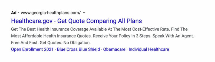 """A screenshot of an ad on Google saying """"Healthcare.gov"""" but leading to a private site, """"georgia-healthplans.com."""" The ad appeared in results for a search for """"healthcare.gov"""" in March from Georgia."""