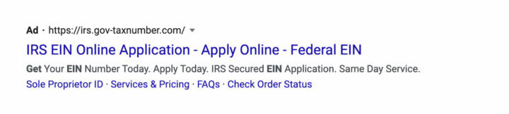 """A screenshot of an ad for """"irs.gov-taxnumber.com"""" on Google that showed up in results for a March search for """"how to get ein."""""""