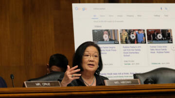 Image of Senator Mazie Hirono, Democrat of Hawaii, speaking at a Senate Judiciary Committee hearing on April 10, 2019